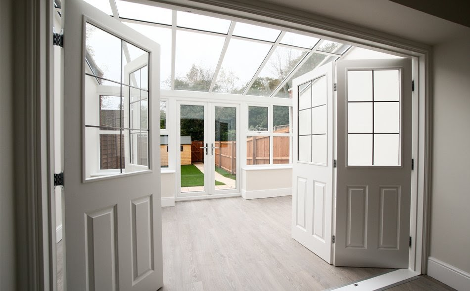Inside a tiled roof conservatory